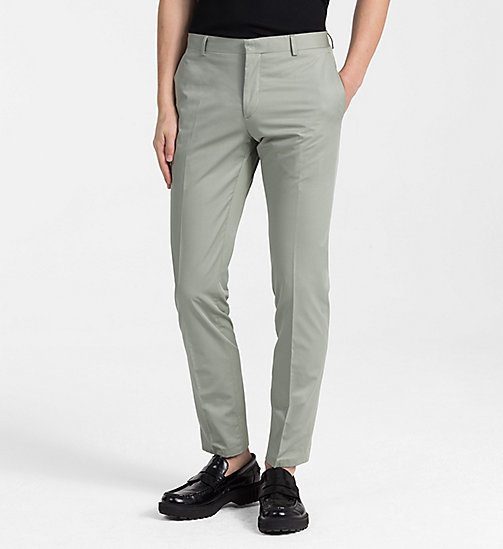CALVINKLEIN Fitted Cotton Twill Trousers - SHADOW - CALVIN KLEIN CLOTHES - main image