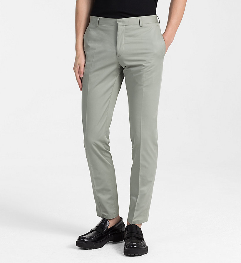 CALVINKLEIN Fitted Cotton Twill Trousers - LIGHT VIOLET - CALVIN KLEIN MEN - main image