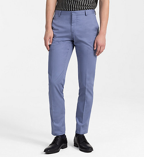 CALVINKLEIN Fitted Cotton Twill Trousers - LIGHT VIOLET - CALVIN KLEIN BACK IN BUSINESS - main image