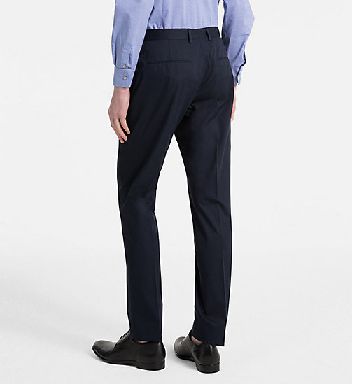CALVINKLEIN Fitted Cotton Twill Trousers - TRUE NAVY - CALVIN KLEIN CLOTHES - detail image 1