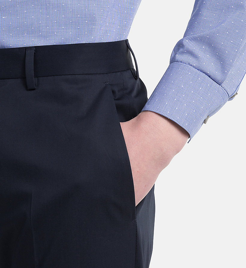 CALVINKLEIN Fitted Cotton Twill Trousers - SHADOW - CALVIN KLEIN MEN - detail image 2