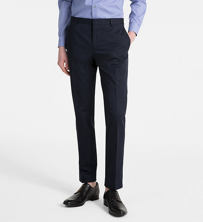 CALVINKLEIN Fitted Cotton Twill Trousers - SHADOW - CALVIN KLEIN MEN - main image