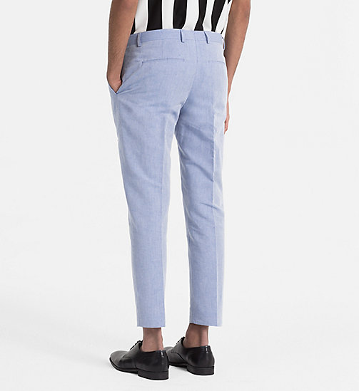 CALVINKLEIN Linen Cotton Chambray Trousers - CERULEAN - CALVIN KLEIN CLOTHES - detail image 1