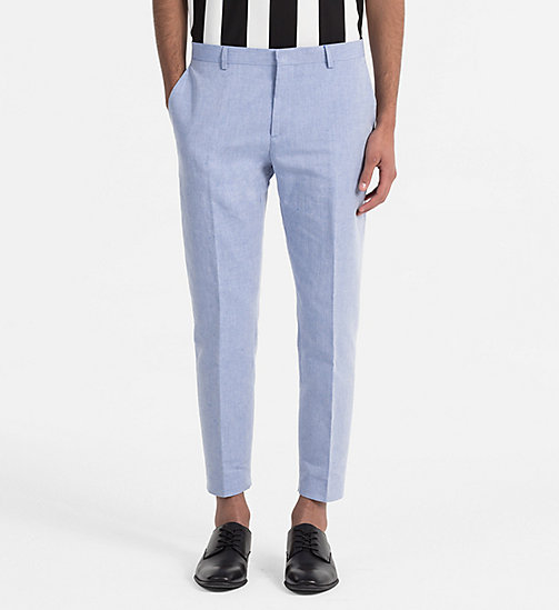 CALVINKLEIN Linen Cotton Chambray Trousers - CERULEAN - CALVIN KLEIN CLOTHES - main image