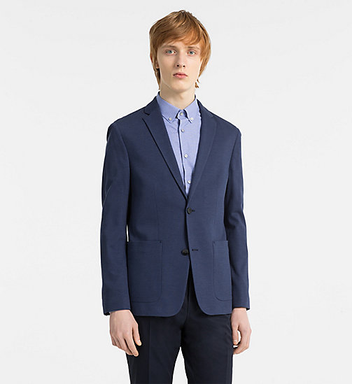 CALVINKLEIN Fitted Two-Tone Piqué Blazer - MEDIEVAL BLUE - CALVIN KLEIN CLOTHES - main image