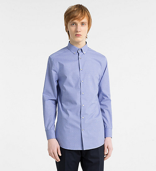 CALVINKLEIN Gingham Check Dobby Shirt - OLYMPIAN BLUE - CALVIN KLEIN NEW IN - main image