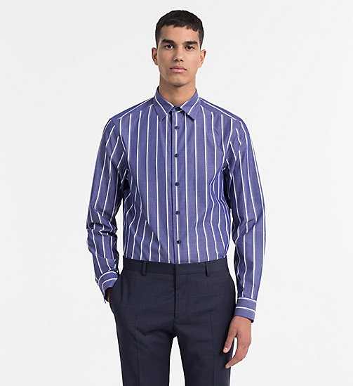 CALVINKLEIN Slim Irregular Stripe Shirt - MEDIEVAL BLUE - CALVIN KLEIN BACK IN BUSINESS - main image