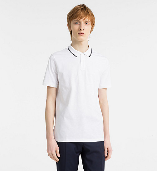 CALVINKLEIN Polo en coton flammé - PERFECT WHITE - CALVIN KLEIN BACK IN BUSINESS - image principale