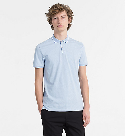 CALVINKLEIN Slub Cotton Polo - CERULEAN - CALVIN KLEIN BACK IN BUSINESS - main image