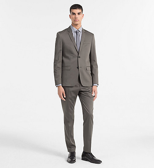 CALVINKLEIN Cotton Stretch Satin Suit - BELUGA - CALVIN KLEIN BACK IN BUSINESS - main image