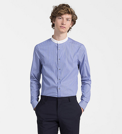 CALVINKLEIN Contrast Trim Stripe Shirt - SODALITE BLUE - CALVIN KLEIN BACK IN BUSINESS - main image