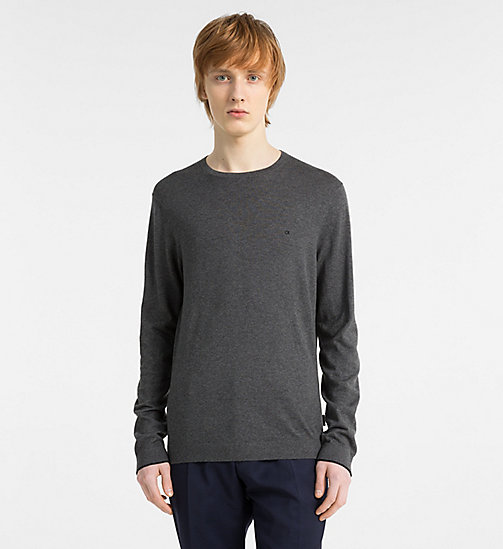 CALVINKLEIN Cotton Silk Jumper - DARK GREY MELANGE - CALVIN KLEIN NEW IN - main image
