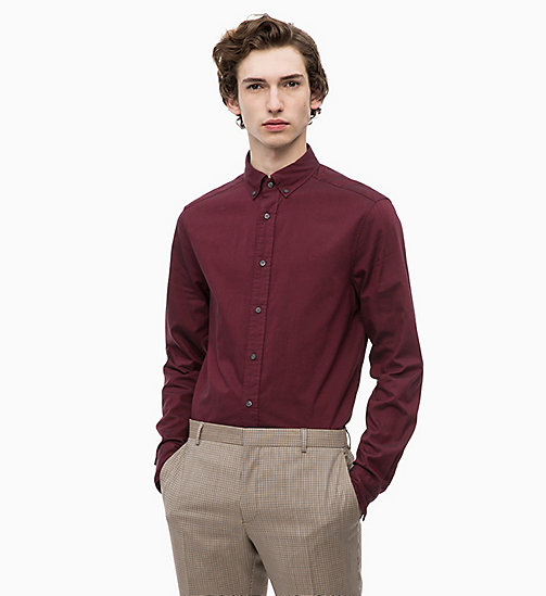 CALVINKLEIN Oxford Cotton Shirt - IRON RED - CALVIN KLEIN CALVIN KLEIN MENSWEAR - main image