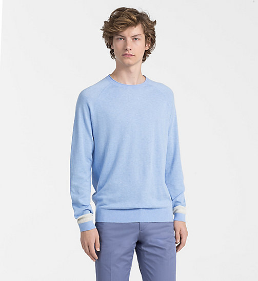 CALVINKLEIN Cotton Cashmere Jumper - CERULEAN HEATHER - CALVIN KLEIN BACK IN BUSINESS - main image