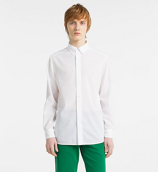 CALVINKLEIN Fitted Cotton Linen Shirt - PERFECT WHITE - CALVIN KLEIN GET SMART - main image