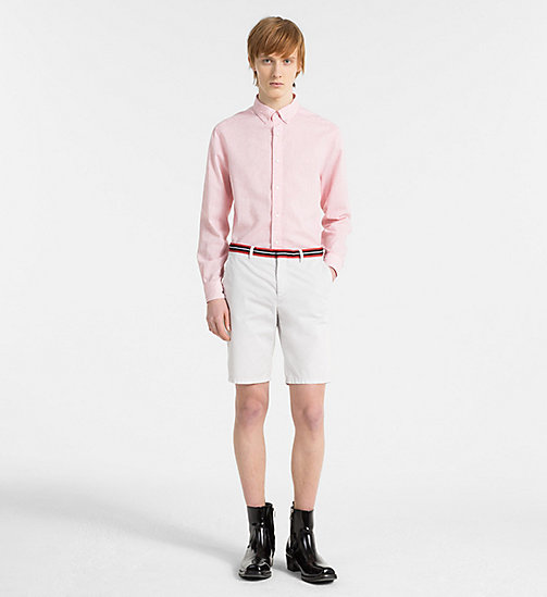 CALVINKLEIN Fitted Cotton Linen Shirt - SPICED CORAL -  GET SMART - detail image 1