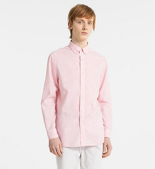 CALVINKLEIN Fitted Cotton Linen Shirt - SPICED CORAL - CALVIN KLEIN GET SMART - main image