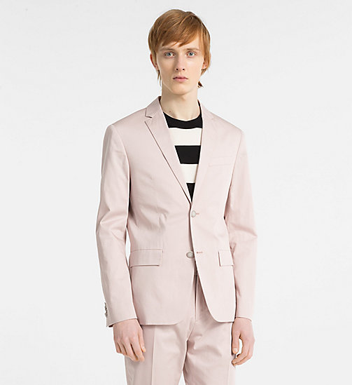 CALVIN KLEIN Fitted Cotton Sateen Blazer - ROSE SMOKE - CALVIN KLEIN GET SMART - main image