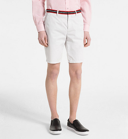 CALVIN KLEIN Chino Shorts with Tape Trim - LUNAR ROCK - CALVIN KLEIN GET SMART - main image