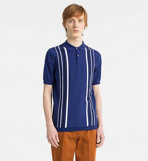 CALVINKLEIN Vertical Stripe Knit Polo - SURF THE WEB - CALVIN KLEIN NEW IN - main image