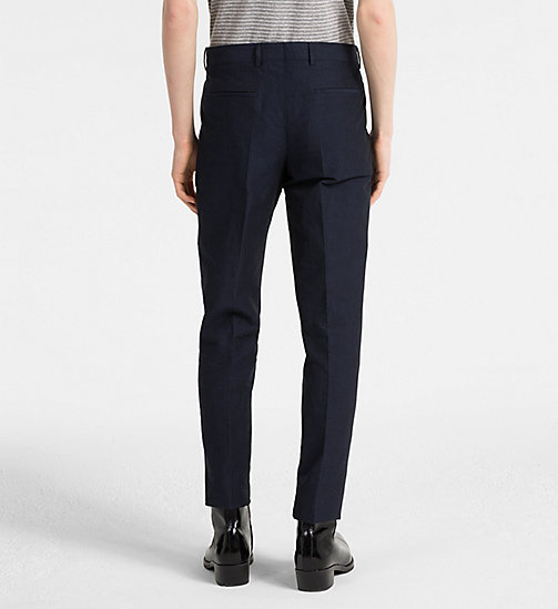 CALVINKLEIN Linen Cotton Chambray Trousers - SKY CAPTAIN - CALVIN KLEIN CLOTHES - detail image 1