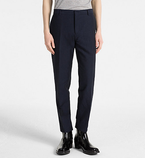CALVIN KLEIN Linen Cotton Chambray Trousers - SKY CAPTAIN - CALVIN KLEIN CLOTHES - main image