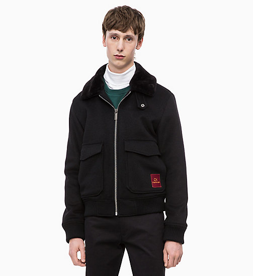 CALVIN KLEIN Wool Blend Bomber Jacket - PERFECT BLACK - CALVIN KLEIN CALVIN KLEIN MENSWEAR - main image