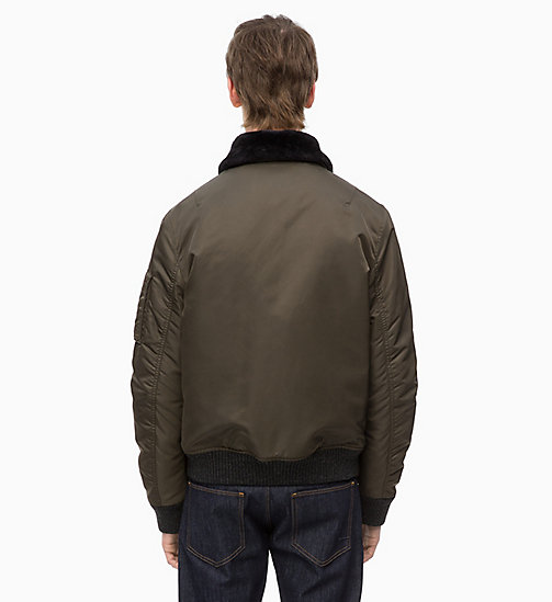 CALVINKLEIN Bomber Jacket with Shearling Collar - DARK OLIVE - CALVIN KLEIN CLOTHES - detail image 1