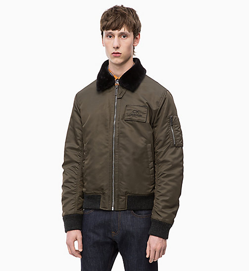 CALVINKLEIN Bomber Jacket with Shearling Collar - DARK OLIVE - CALVIN KLEIN CLOTHES - main image