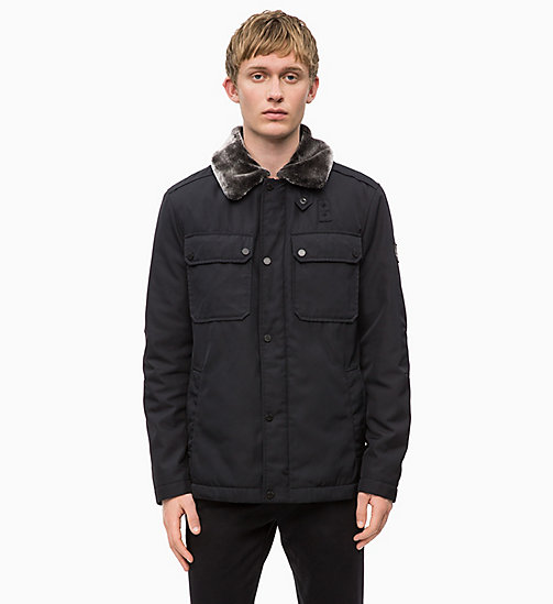 CALVINKLEIN Field Jacket with Shearling Collar - PERFECT BLACK - CALVIN KLEIN INVEST IN COLOUR - main image