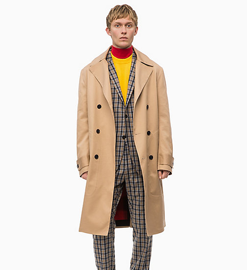 CALVIN KLEIN Bonded Cotton Twill Trench Coat - TANNIN - CALVIN KLEIN CALVIN KLEIN MENSWEAR - main image