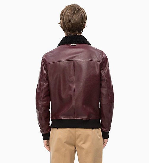 CALVINKLEIN Leather and Shearling Aviator Jacket - IRON RED - CALVIN KLEIN INVEST IN COLOUR - detail image 1