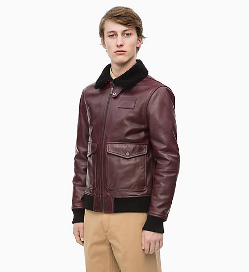 CALVINKLEIN Leather and Shearling Aviator Jacket - IRON RED - CALVIN KLEIN INVEST IN COLOUR - main image
