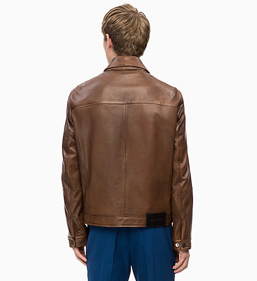 CALVINKLEIN Nappa Leather Jacket - VINTAGE BROWN -  CALVIN KLEIN MENSWEAR - detail image 1