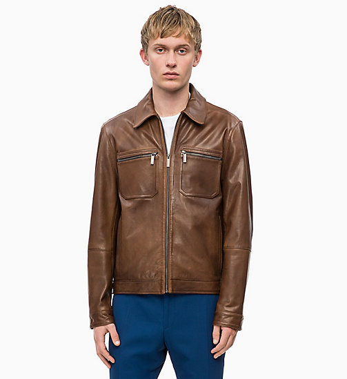CALVINKLEIN Nappa Leather Jacket - VINTAGE BROWN - CALVIN KLEIN CALVIN KLEIN MENSWEAR - main image