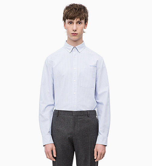 CALVINKLEIN Oxford Cotton Stripe Shirt - VISTA BLUE - CALVIN KLEIN INVEST IN COLOUR - main image