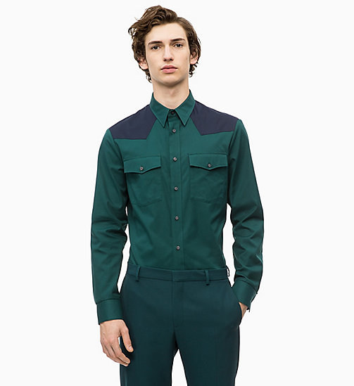 CALVINKLEIN Colour Block Western Shirt - PONDEROSA PINE - CALVIN KLEIN INVEST IN COLOUR - main image