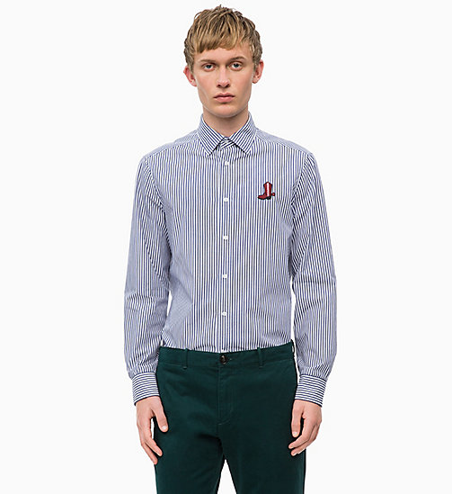 CALVINKLEIN Logo Badge Stripe Shirt - NAVY BLAZER - CALVIN KLEIN INVEST IN COLOUR - main image