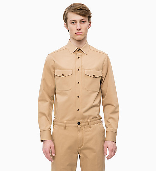 CALVINKLEIN Cotton Twill Uniform Shirt - TANNIN - CALVIN KLEIN INVEST IN COLOUR - main image