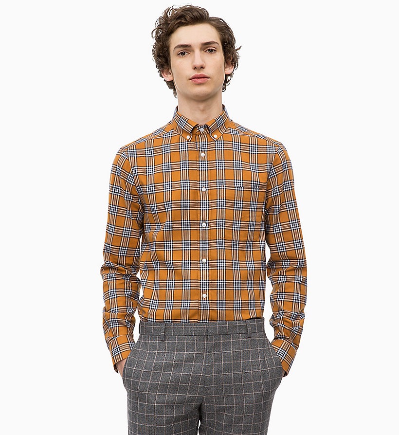 CALVINKLEIN Cotton Twill Check Shirt - IRON RED - CALVIN KLEIN MEN - main image