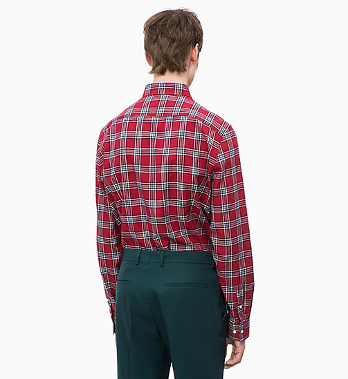 CALVINKLEIN Cotton Twill Check Shirt - IRON RED -  CLOTHES - detail image 1