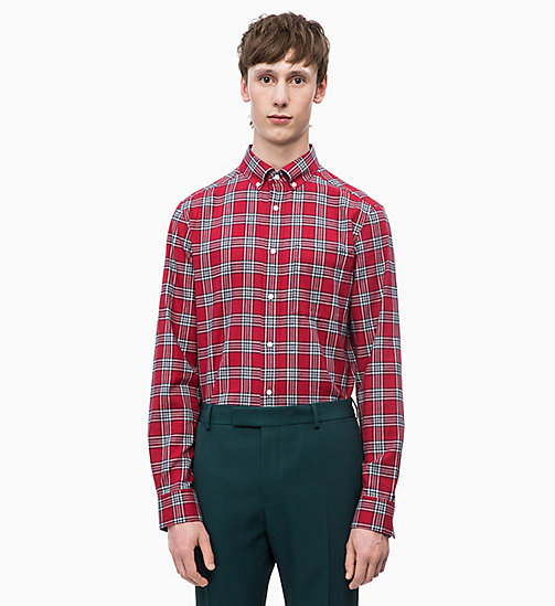 CALVINKLEIN Cotton Twill Check Shirt - IRON RED -  CLOTHES - main image