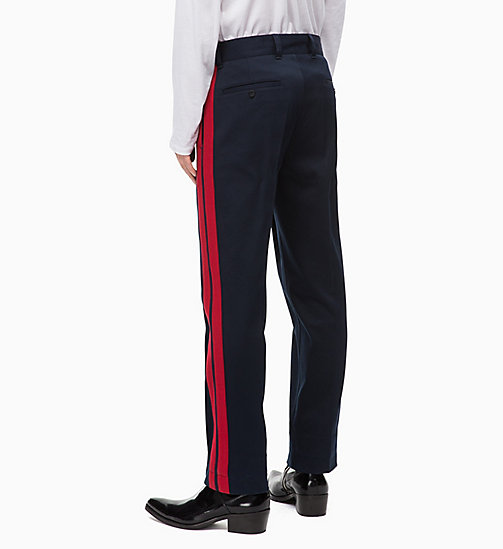 CALVINKLEIN Cotton Twill Side-Stripe Trousers - SKY CAPTAIN - CALVIN KLEIN CALVIN KLEIN MENSWEAR - detail image 1