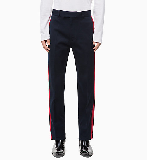CALVIN KLEIN Cotton Twill Side-Stripe Trousers - SKY CAPTAIN - CALVIN KLEIN CALVIN KLEIN MENSWEAR - main image