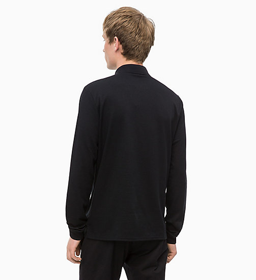 CALVINKLEIN Fitted Long Sleeve Polo - PERFECT BLACK - CALVIN KLEIN CALVIN KLEIN MENSWEAR - detail image 1