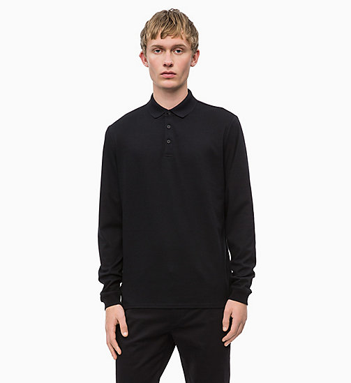 CALVIN KLEIN Fitted Long Sleeve Polo - PERFECT BLACK - CALVIN KLEIN CALVIN KLEIN MENSWEAR - main image