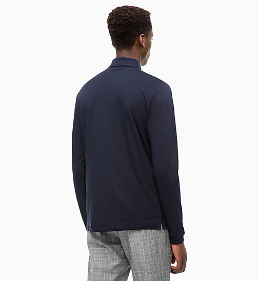 CALVINKLEIN Fitted Long Sleeve Polo - 413-SKY CAPTAIN - CALVIN KLEIN CALVIN KLEIN MENSWEAR - detail image 1