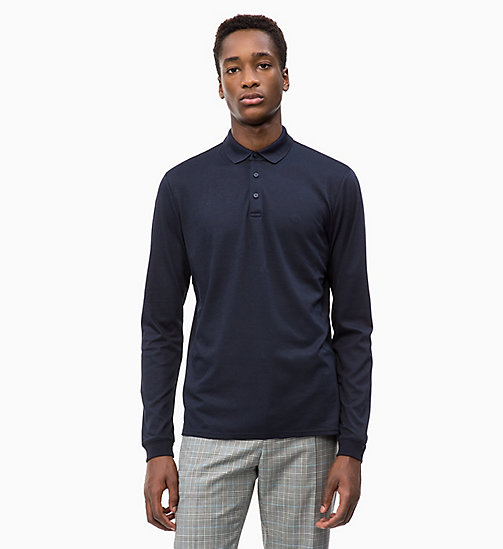 CALVINKLEIN Fitted Long Sleeve Polo - 413-SKY CAPTAIN - CALVIN KLEIN CALVIN KLEIN MENSWEAR - main image