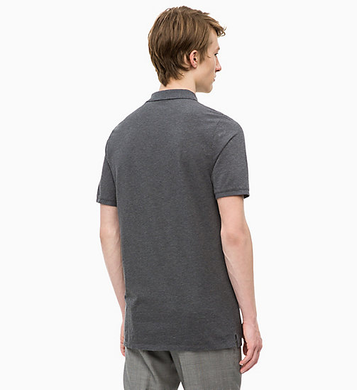 CALVINKLEIN Combed Cotton Polo - DARK GREY HTR - CALVIN KLEIN CLOTHES - detail image 1