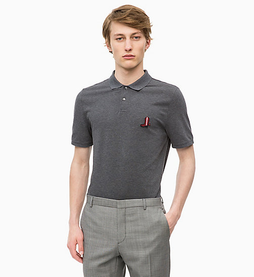 CALVINKLEIN Combed Cotton Polo - DARK GREY HTR - CALVIN KLEIN CLOTHES - main image